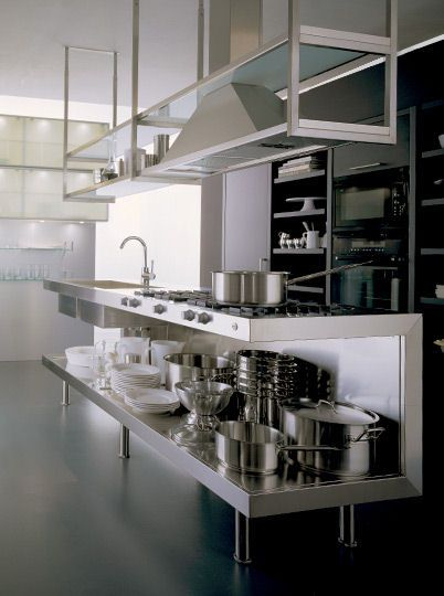 Beautiful Groovy Modern Stainless Steel Kitchen Everything Exposed