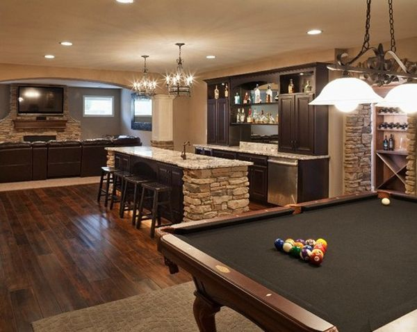 Pool Table Ideas pool table disguised as dining room table decorating ideas Basement Ideas With Entertainment Area Home Design And Interior