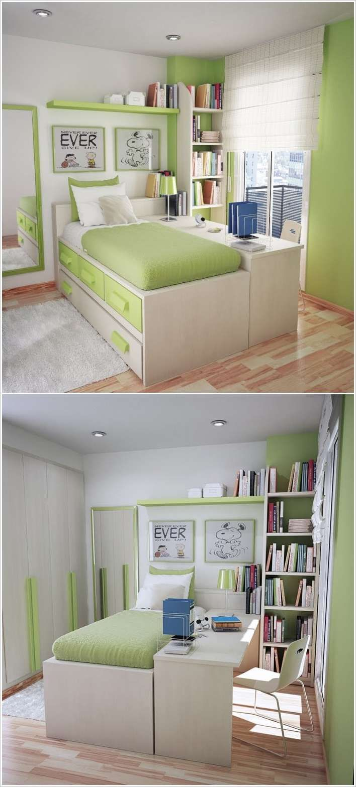 Put study desk along the bed so that it doubles as a for Bedroom desk ideas