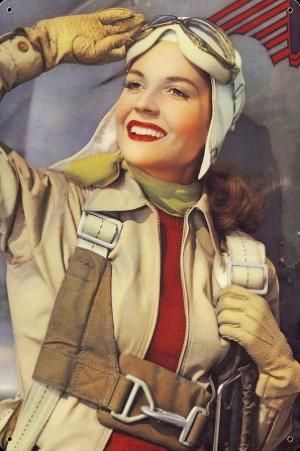 Vintage Aviation Pilot Sign.....saluting goodbye before hopping on her plane