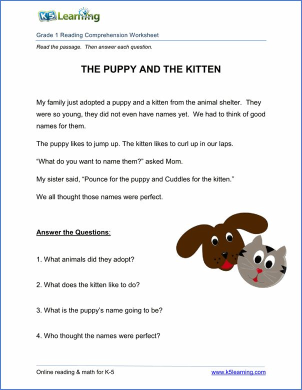 Free printable first grade reading comprehension worksheets | K5 Learning