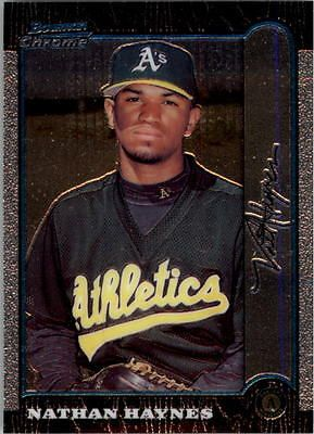 1999 Bowman Chrome Oakland Athletics Baseball Card #137 Nathan Haynes