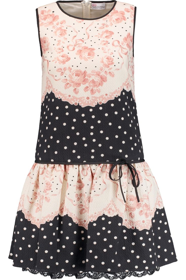 Shop on-sale REDValentino Lace-trimmed printed cotton-matelassé mini dress. Browse other discount designer Dresses & more on The Most Fashionable Fashion Outlet, THE OUTNET.COM