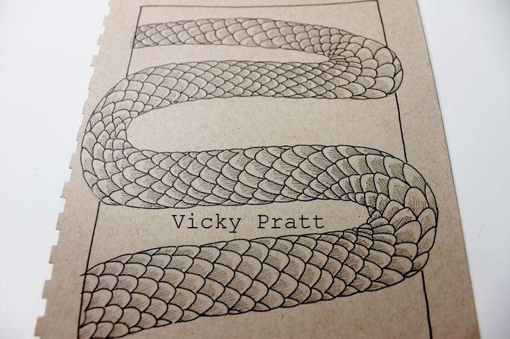 By Vicky Pratt. Copic Multiliner. Snake scales.For Inktober 2015. www.vicpratt.wix.com/vickypratt Find me on FB and IG Vicky Pratt - Illustrator.