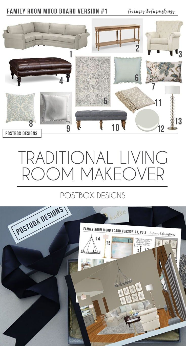 Postbox Designs Interior E Design Traditional Living Room Makeover With Online Pottery Barn