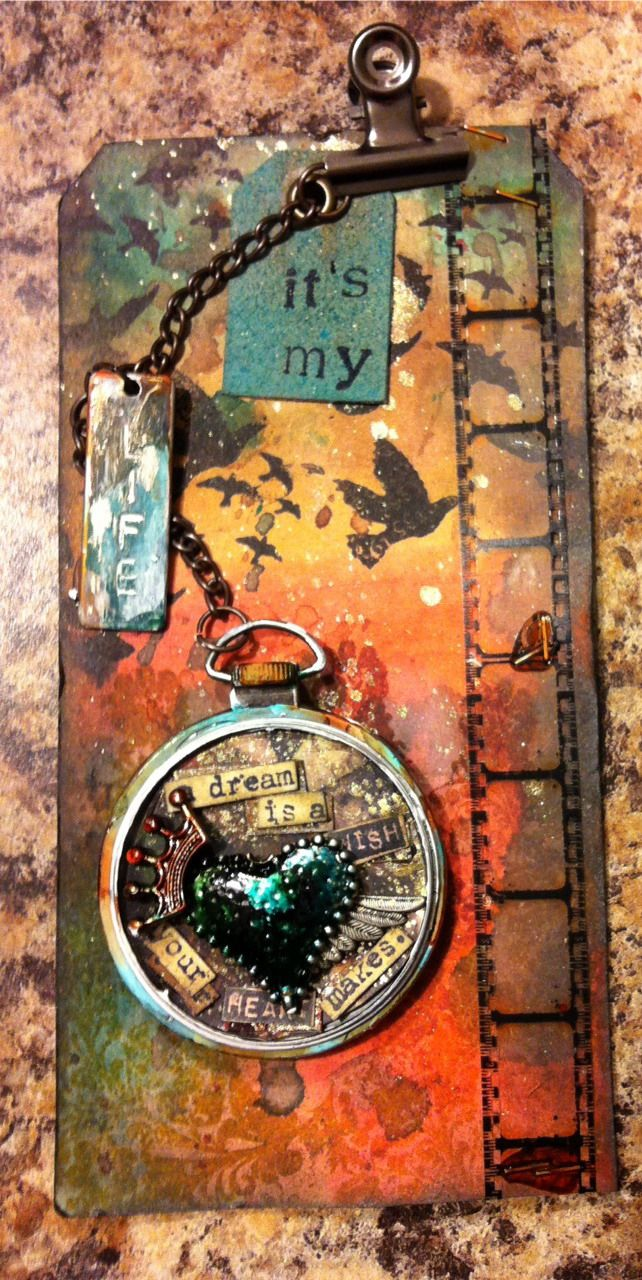 Tag Art using Tim Holtz, Ranger, Idea-ology, Sizzix and Stamper's Anonymous products; Apr 2015