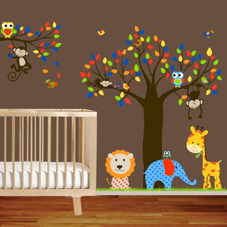 Giraffe,elephant,monkey nursery wall decal sticker vinyl tree and branch jungle decal,red,blue green. $175.00, via Etsy.