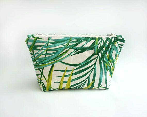 Palm leaf makeup bag Green cosmetic bag Large make up bag