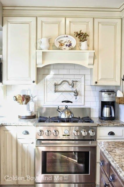 Give your kitchen a makeover with a mantel hood and exhaust fan over your range. It's an easy way to add a bit of flair to your space.