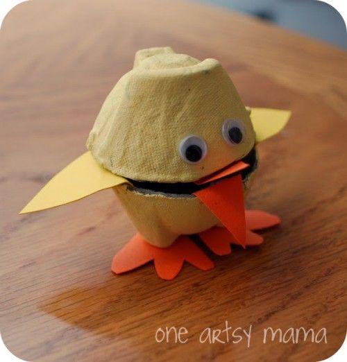 Egg carton chick craft