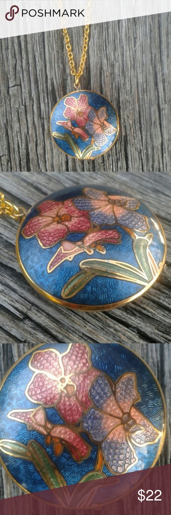 Enameled flower design necklace Beautiful multicolor enameled necklace with gold trim and gold chain. Design is on both sides. Handmade Jewelry Necklaces