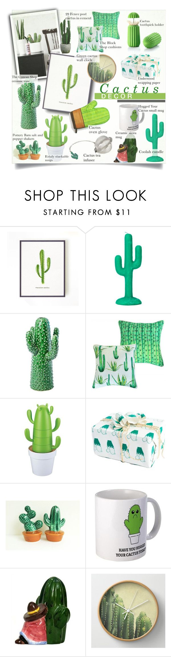 """Cactus Decor"" by alexandrazeres ❤ liked on Polyvore featuring interior, interiors, interior design, home, home decor, interior decorating, Sunnylife, Conran, GREEN and Cactus"