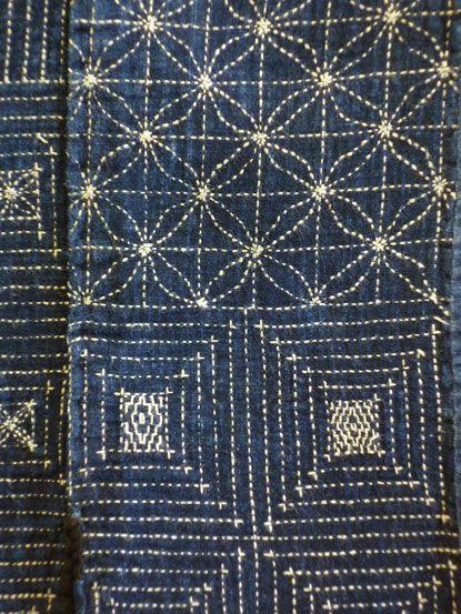 sashiko stitching on a traditional Japanese apron