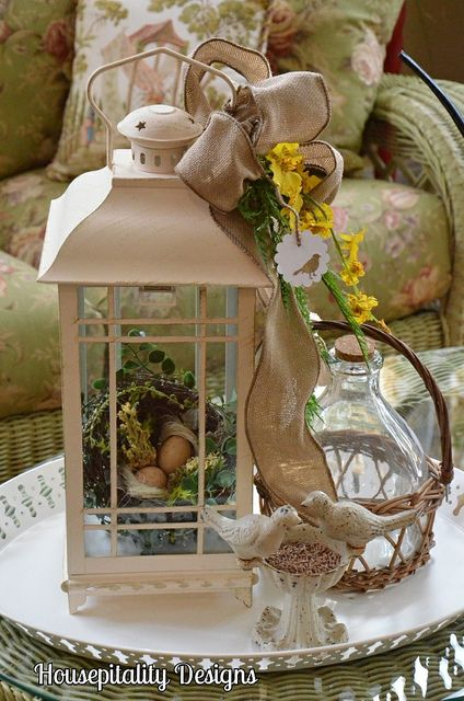 lantern jug burlap bow birds on a tryso many - Decorative Lanterns