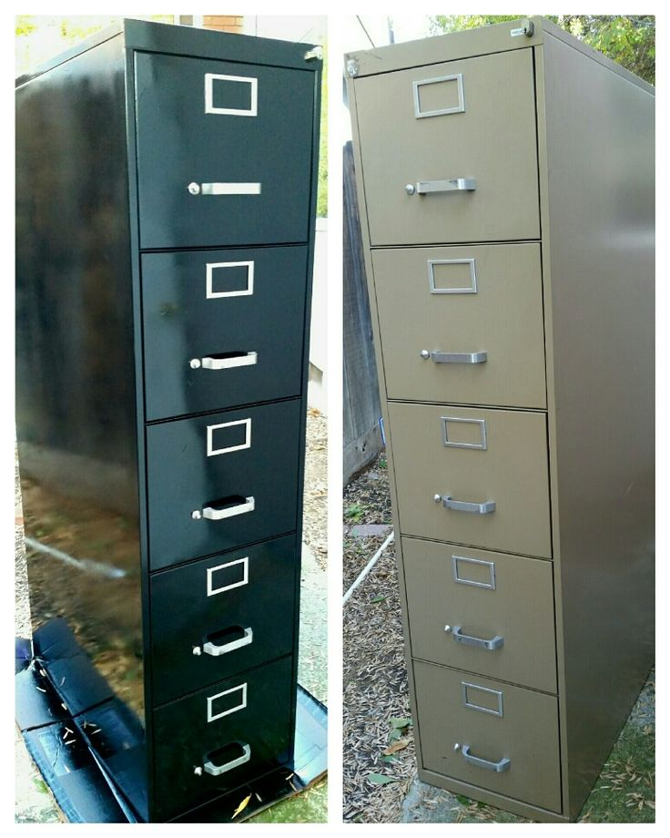 DIY Filing Cabinet Upgrade • Used filing cabinet from office furniture warehouse for $50 • Remove hardware & spray paint gloss black • Why spend $300+ for a new one? •