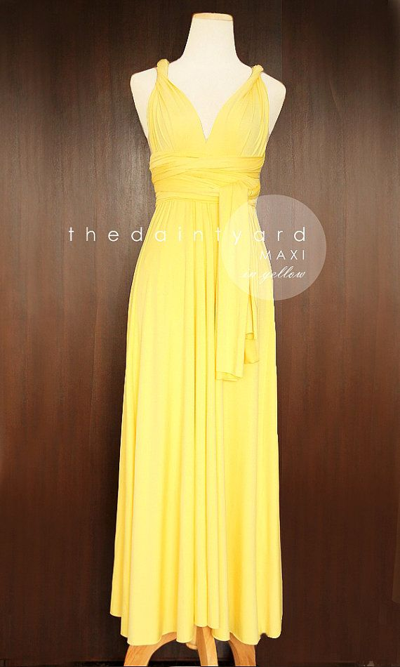 Maxi yellow bridesmaid dress convertible dress infinity for Yellow maxi dress for wedding