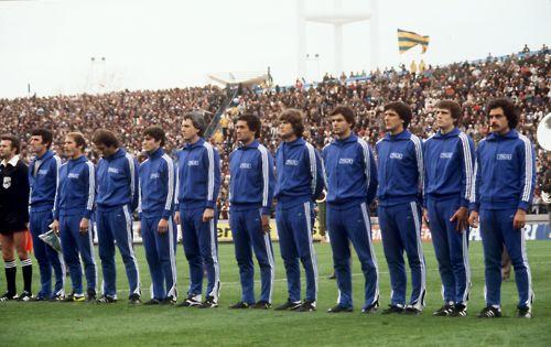 Azzurri to face France, World Cup 1978:  Dino Zoff, Romeo Benetti, Mauro Bellugi, Paolo Rossi, Roberto Bettega, Claudio Gentile, Giancarlo Antognioni, Antonio Cabrini, Gaetano Scirea, Marco Tardelli, Franco Causio.