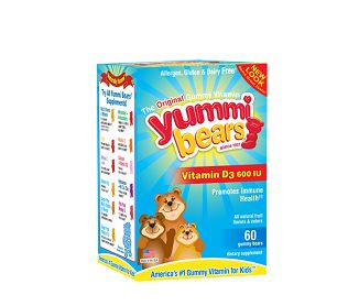 Hero Nutritionals Yummi Bears Vitamin D: Vitamin D (600iu) Yummi Bears with Natural Fruit Flavors increases calcium absorption to build healthy bones.