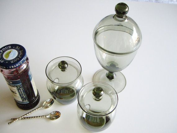 Vintage Glass Condiment Set MCM Scandinavian Danish by Vintagerous