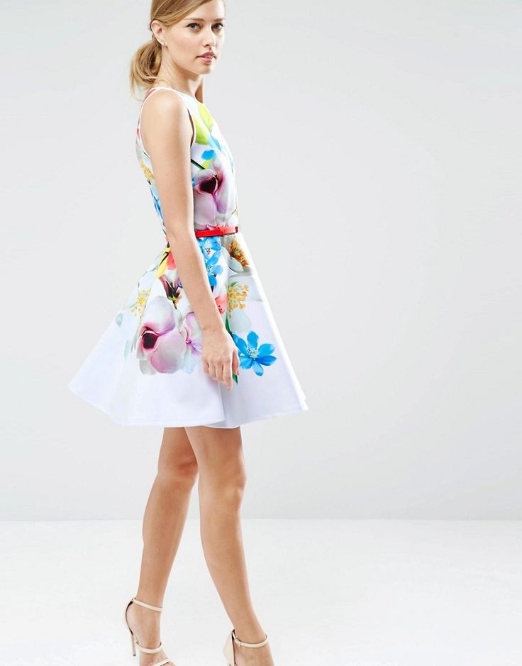 Image 1 ofTed Baker Skater Dress in Forget Me Not Print
