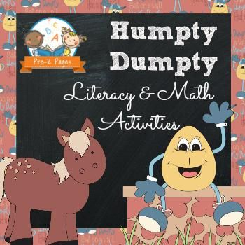 Nursery Rhymes: Humpty Dumpty Literacy and Math Activities from Pre K Pages on TeachersNotebook.com -  (80 pages)  - Nursery Rhymes: Humpty Dumpty Literacy and Math Activities for PK & K