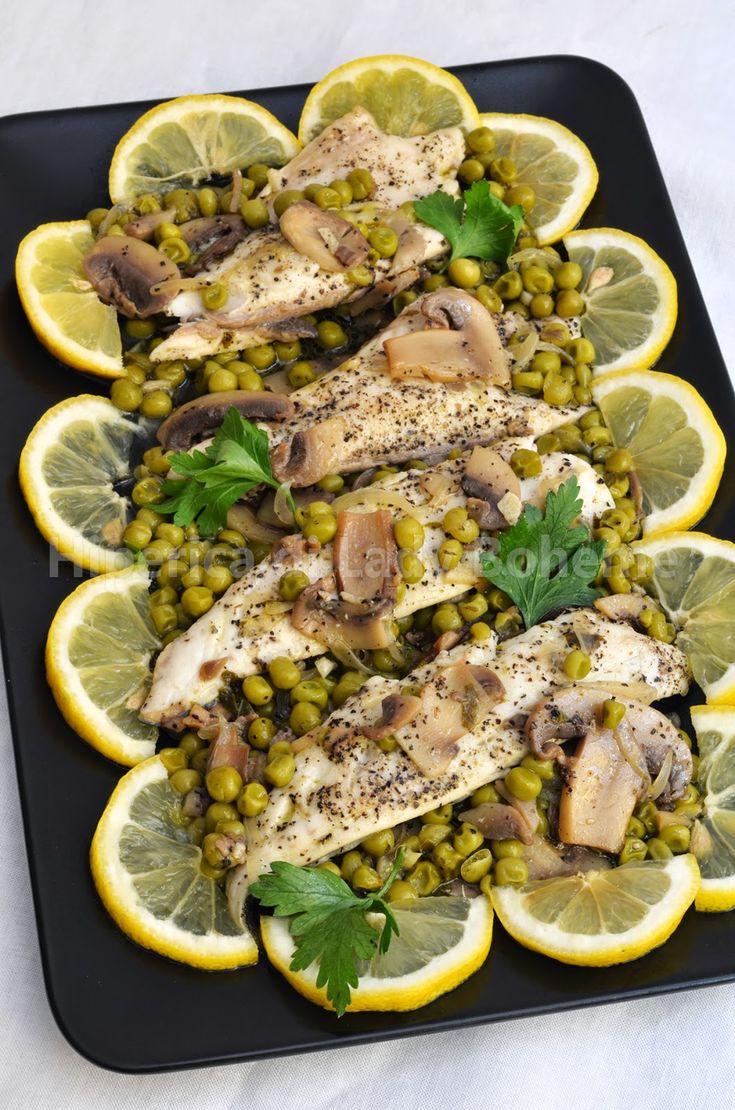ITALIAN FOOD - FILETTI DI ORATA CON PISELLI E FUNGHI CHAMPIGNON (Sea Bream Fillets with Peas and Mushrooms)
