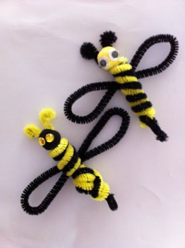 Bees - 50  Pipe Cleaner Animals for Kids, http://hative.com/pipe-cleaner-animals-for-kids/,