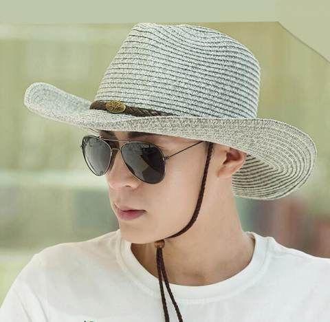 Mens cowboy hat for summer wide brim straw sun hats