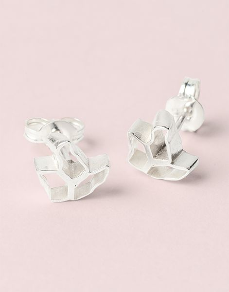French Lace Studs, sterling silver