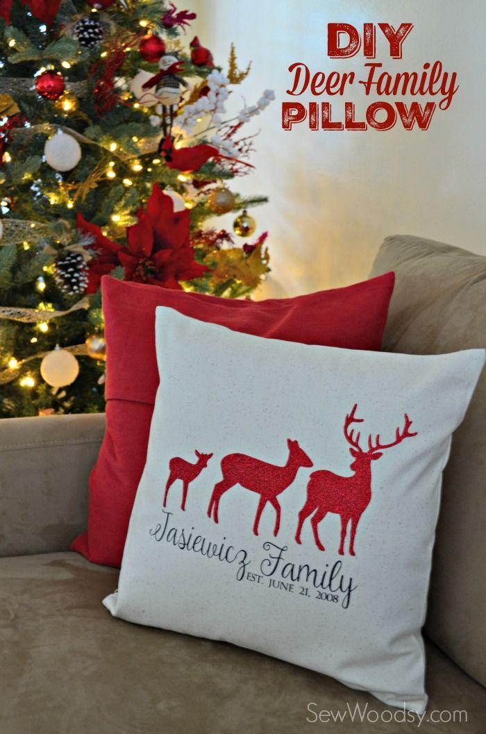 DIY Deer Family Pillow Cover using @Cricut Explore & Iron-On Vinyl…