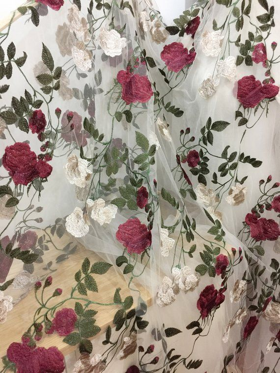 Delicate Blossom Rose Lace Fabric Mixed Color Embroidery