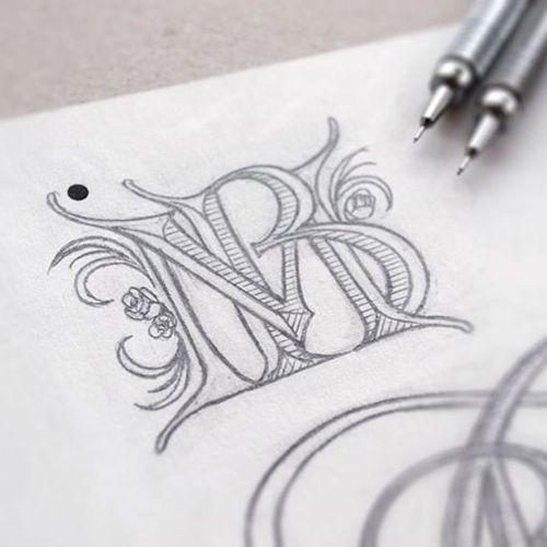 Wedding monogram sketch by Jackson Alves