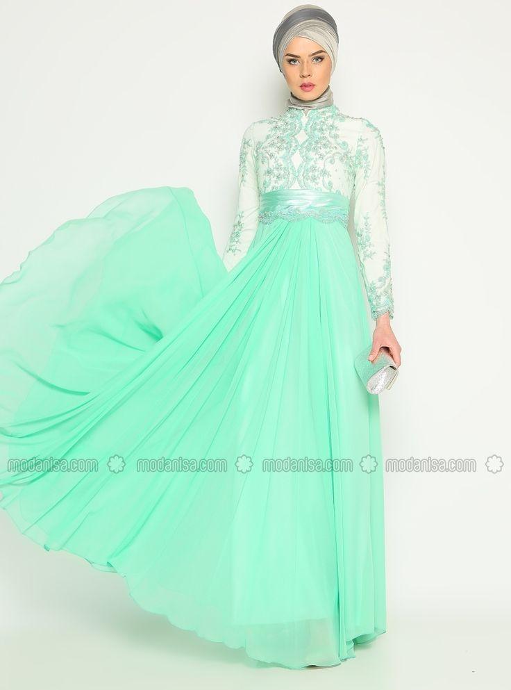 Sequin Evening Dress - Water Green - Asbella Abiye