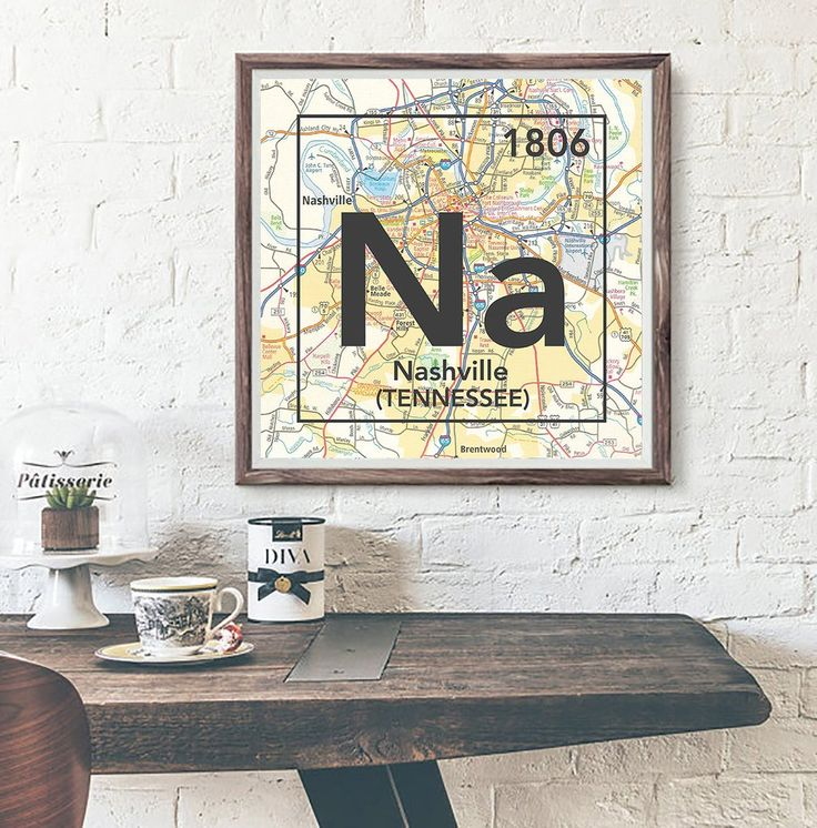 Nashville Tennessee Na Vintage Periodic Map ART