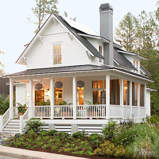We love everything about this home's dramatic front porch! http://www.bhg.com/home-improvement/door/exterior/exterior-doors-and-landscaping/?socsrc=bhgpin012514punchuptheporch&page=17