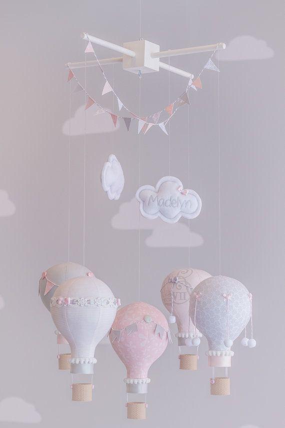 Baby Mobile Pink and Grey Nursery Decor Custom by sunshineandvodka