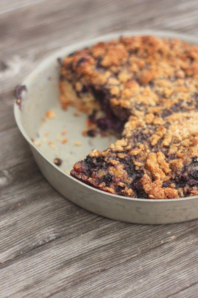 Le blueberry buckle ou gâteau crumble aux myrtilles