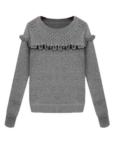 Pure Color Hollow Out Laciness Pullover