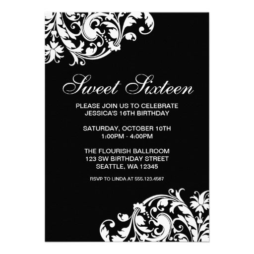 20 best black and white party invitations images on pinterest black and white swirl flourish sweet 16 birthday invitation filmwisefo