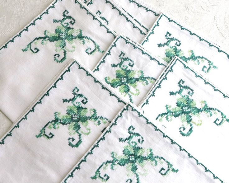 8 large cross stitched napkins, green embroidery thread on white linen, hand embroidered, cross stitched edge, circa mid 20th century by CardCurios on Etsy