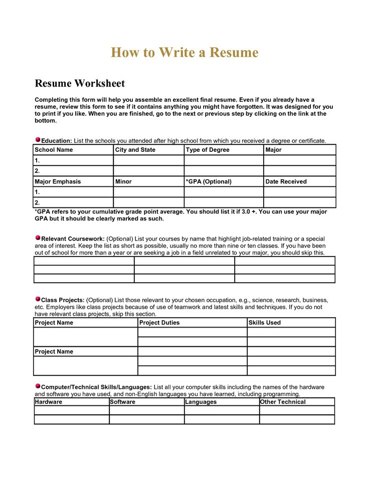 high school resume worksheet