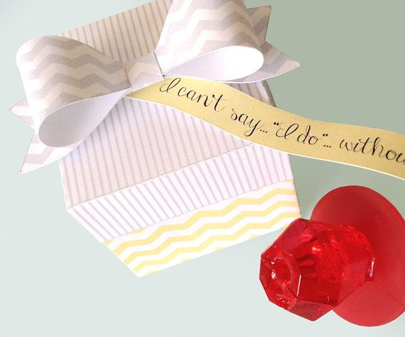 Yellow Chevron - Will You Be My Bridesmaid...Ring Pop Box & New Paper Bow - with EDITABLE Tags/Labels to Personalize - DIY PRINTABLE PDF Box Kit $7.99