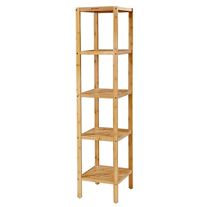 Amazon Com Songmics 100 5 Tier Bamboo Bathroom Shelf Narrow
