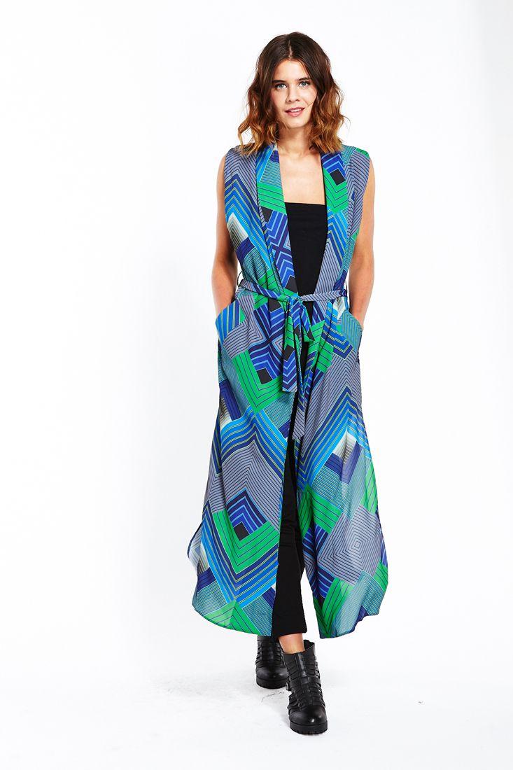 Blue Green Geo Long Line Shirt - Fashionhub Tops Online.