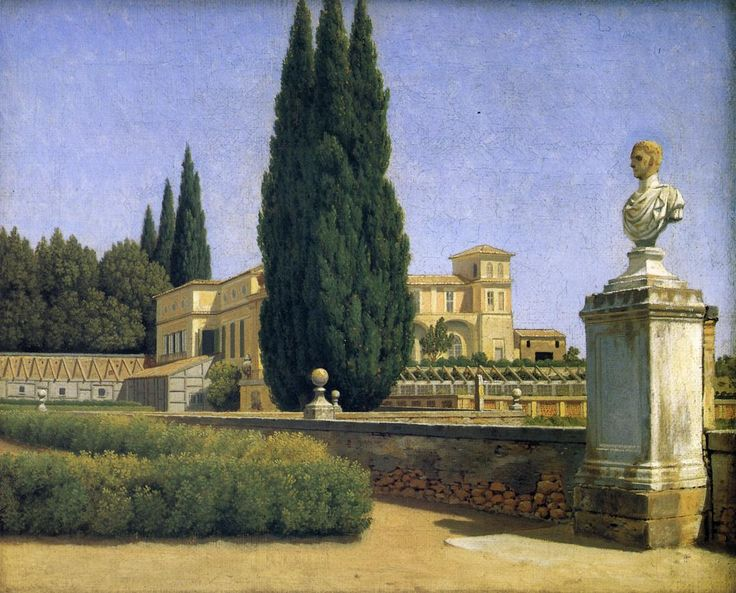 "myfairynuffstuff: ""Christoffer Wilhelm Eckersberg (1783 - 1853) - In the Garden of the Villa Albani. Oil on canvas. """