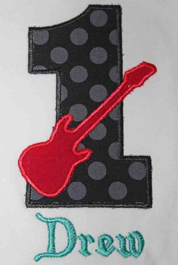 Guitar Rock Star Birthday Number Shirt or by OhSewSweetEmbroidery, $19.00