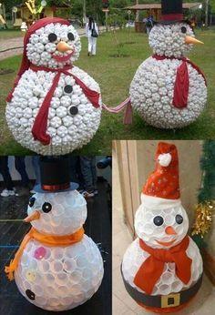 De jolis Bonhommes de neige faits maison !                                                                                                                                                     Plus