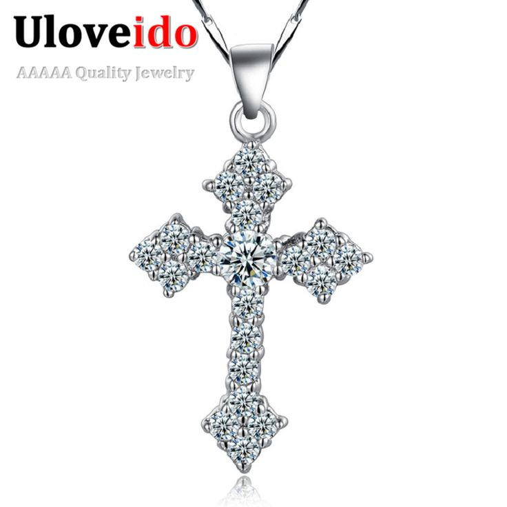 Micro Pave CZ Simulated Diamond 925 Sterling Silver Necklaces Cross Necklaces Valentine's Day Gift Chinese Jewelry Ulove N687