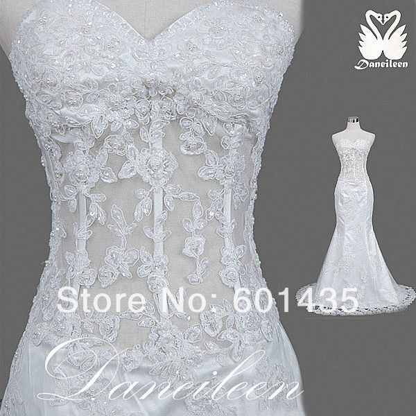 Corset mermaid wedding dresses 2014 vintage lace for Wedding dress see through