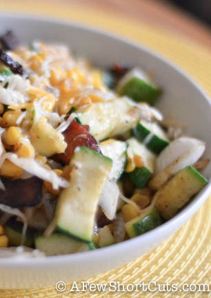 Liven up your summer bbq with this great side dish! Zucchini and Corn Medley #Recipe from AFewShortCuts.com